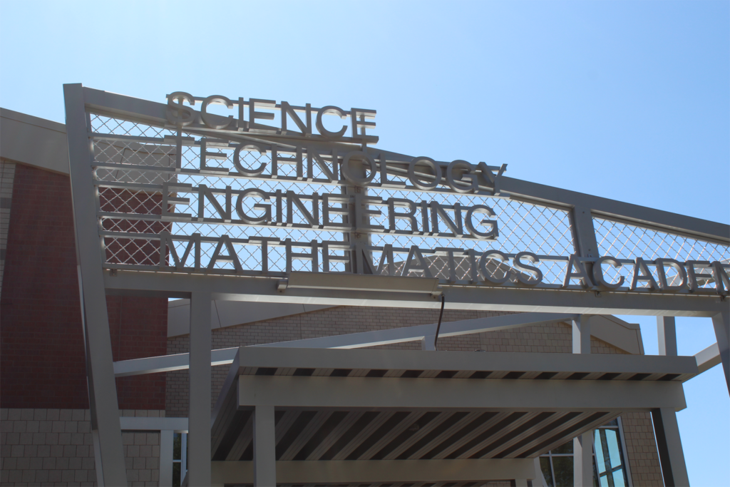 Trenton High School Engineering And Mathematics Sign Front View