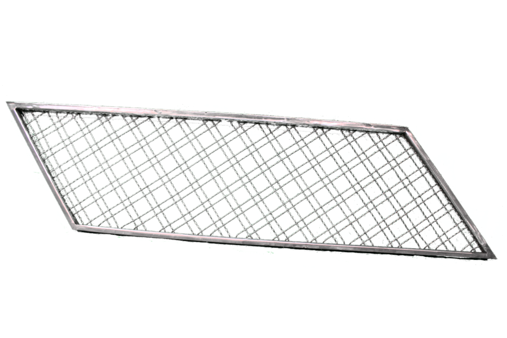 Finished Wire Mesh Panel Diamond & Squares Full View