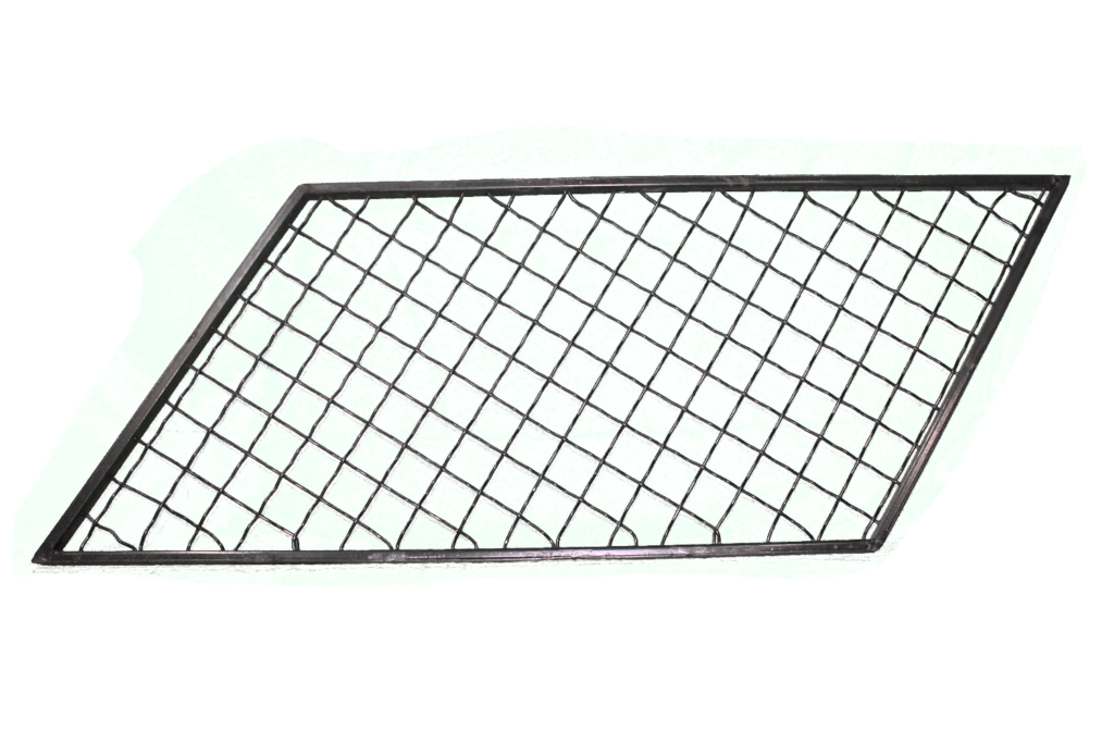 Finished Wire Mesh Panel Slanted Squares Full View